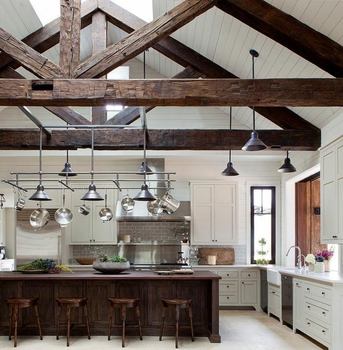 La poutre en bois dans 50 photos magnifiques - Ilot cuisine bois massif ...