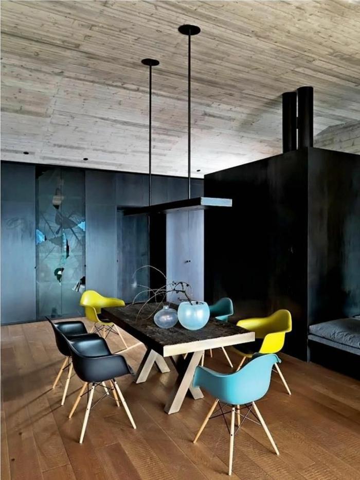 1-salle-à-manger-complète-conforama-pas-cher-avec-chaises-colores-et-table-en-bois-massif