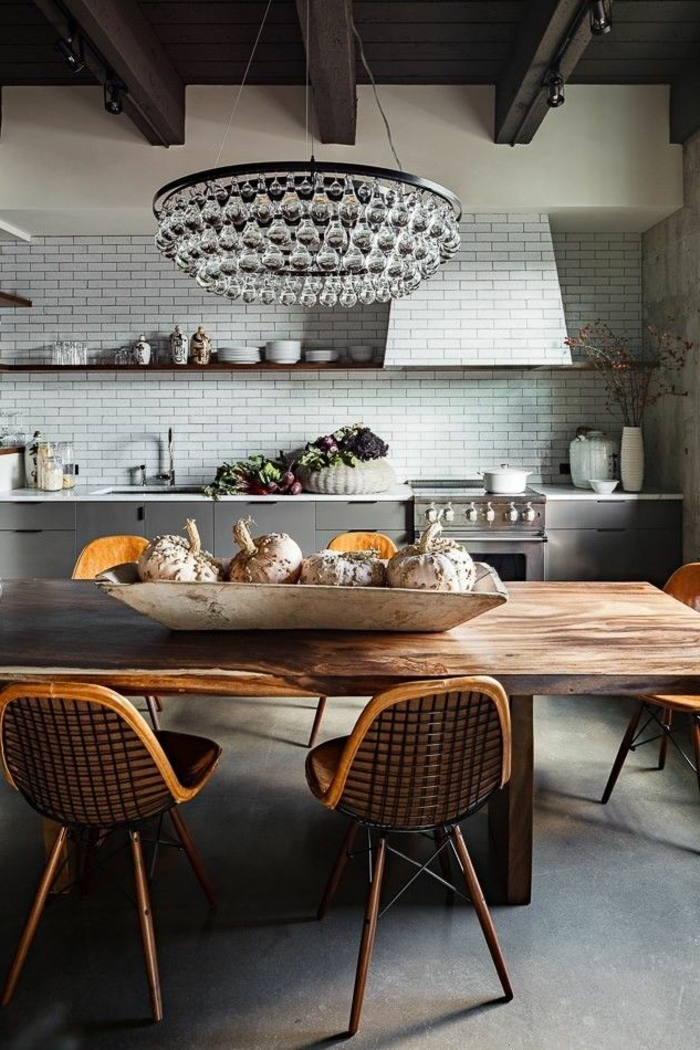 Voici la salle manger contemporaine en 62 photos for Salle a manger complete en bois gris