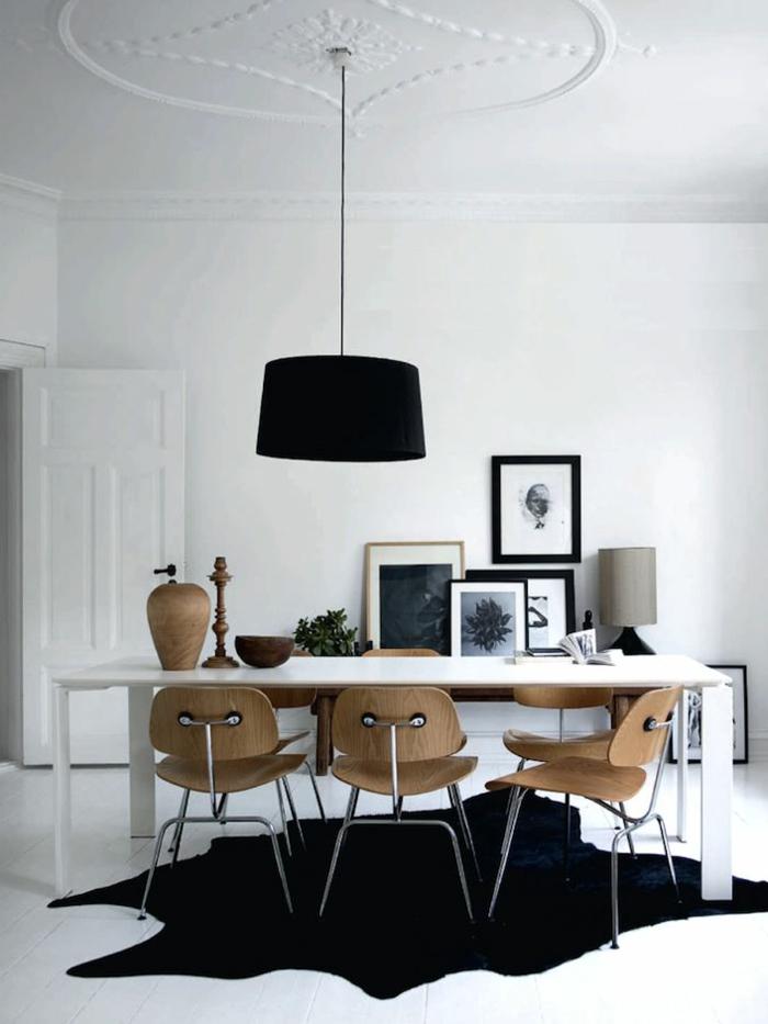 1-salle-a-manger-complete-pas-cher-avec-tapis-en-peau-d-animale-noir-plafond-blanc