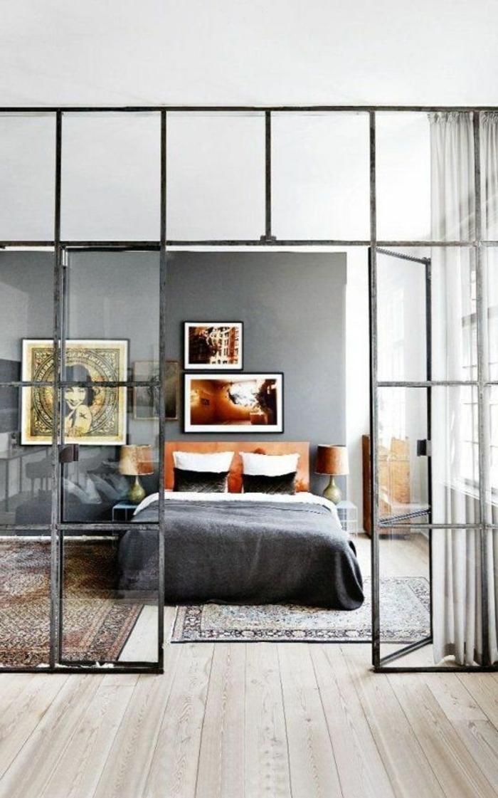 Verriere Pour Chambre : … -la-chambre-a-coucher-moderne-verriere-loft-dans-la-chambre-a-coucher
