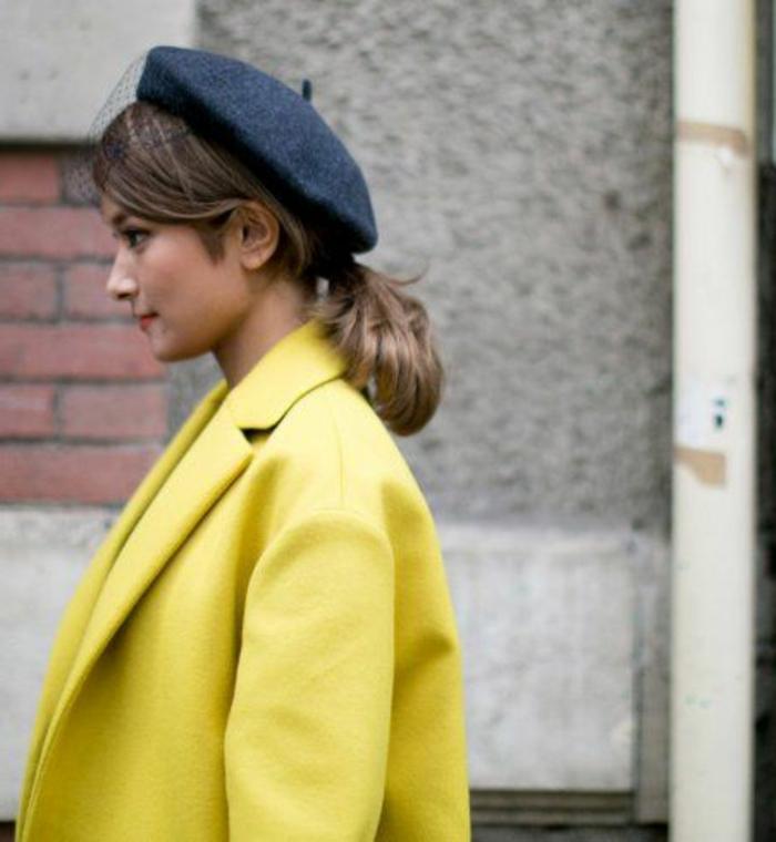 2-la-beauté-de-béret-femme-modenre-manteau-jaune-chapeau-gris-cheveux-courts-manteau-jaune
