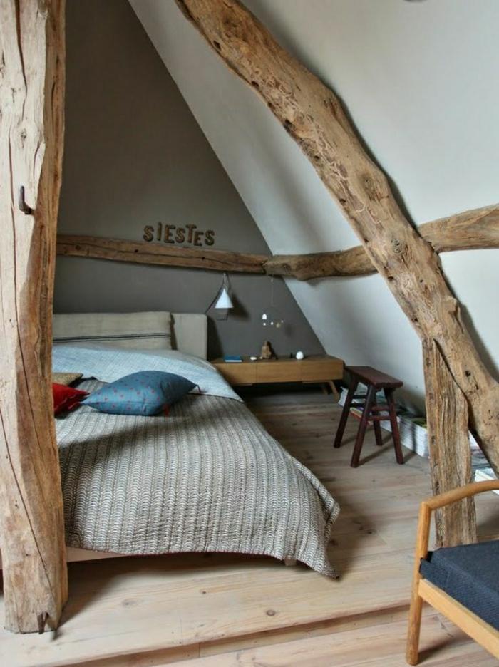 La poutre en bois dans 50 photos magnifiques - Chambre avec poutre ...