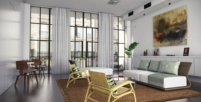Baie-à-galandage-en-aluminium-idée-design-d-intérieur-beau-salon-moderne-tableau-abstrait