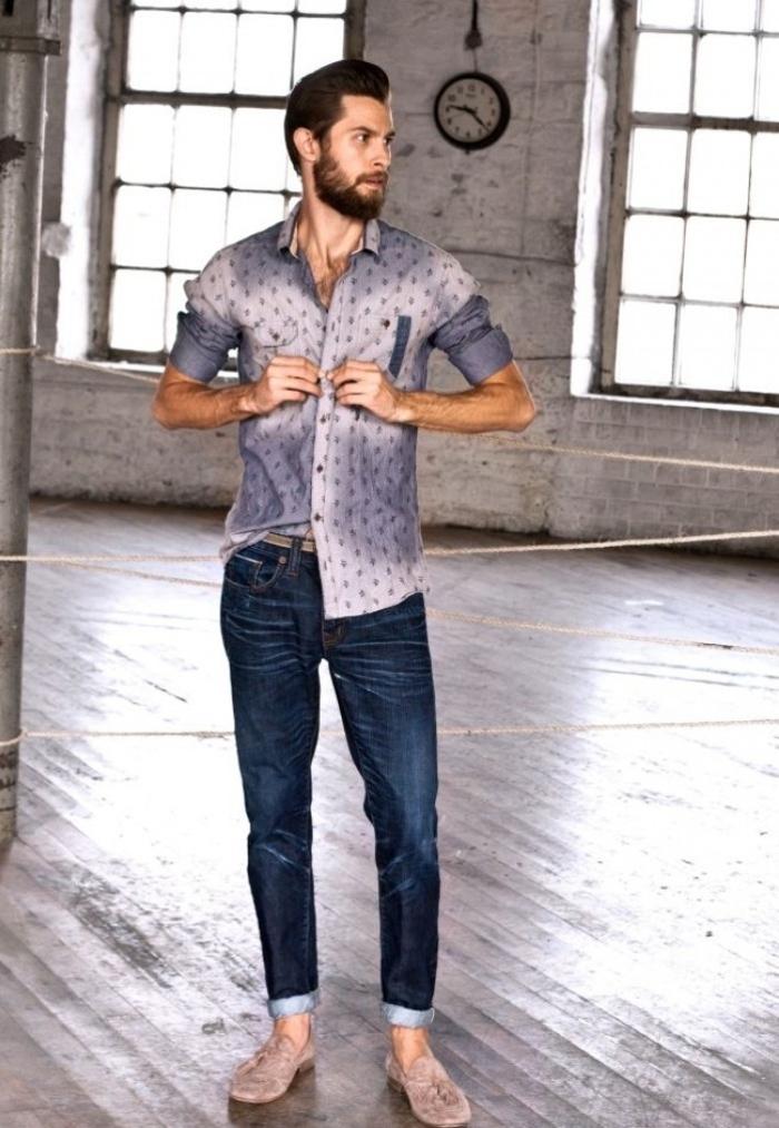 Chic-casuel-bohème-chic-tenue-homme-casual-chic-homme-chemise-et-jean