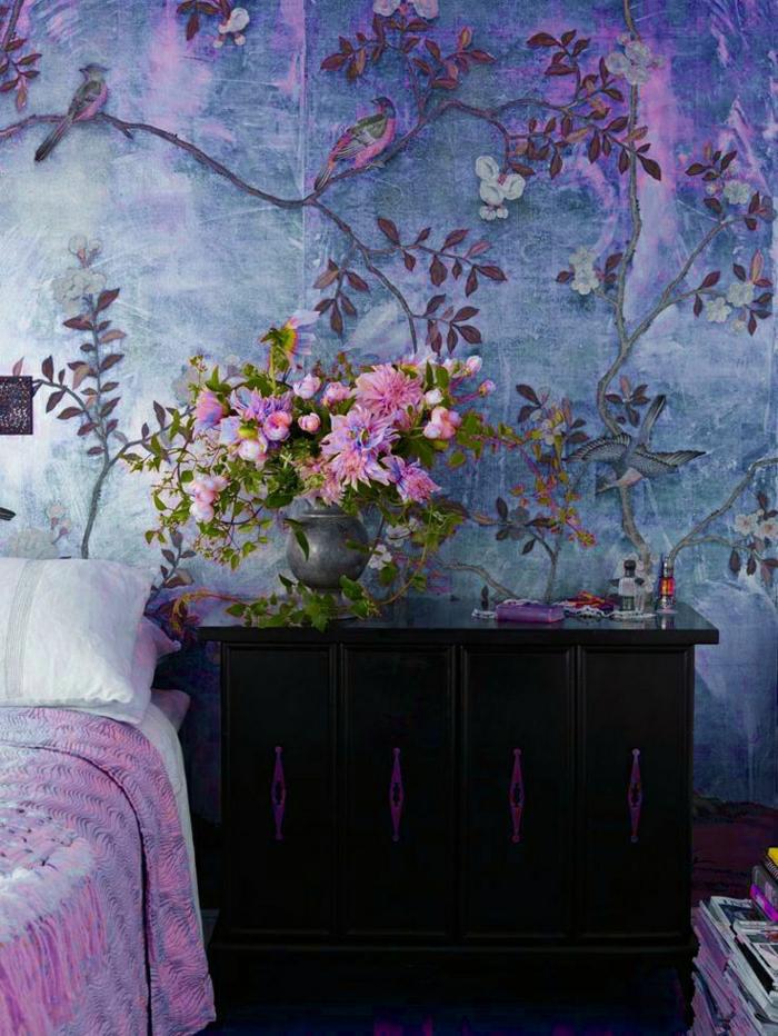 Décoration-mural-papier-peint-designer-guild-chambre-à-coucher-violet-magique