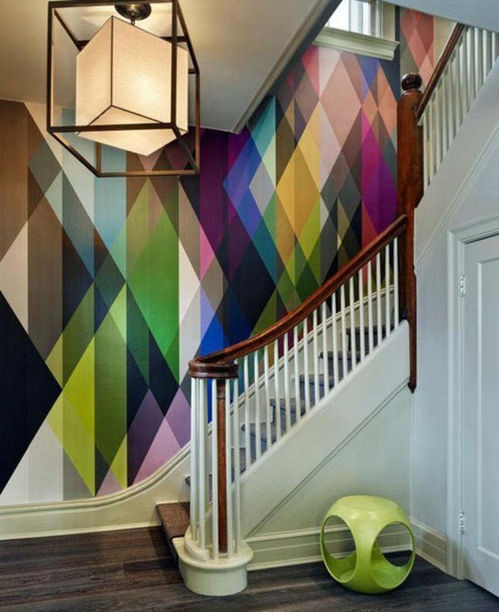 Décoration-mural-papier-peint-designer-guild-escalier-couleurs-formes-géométriques