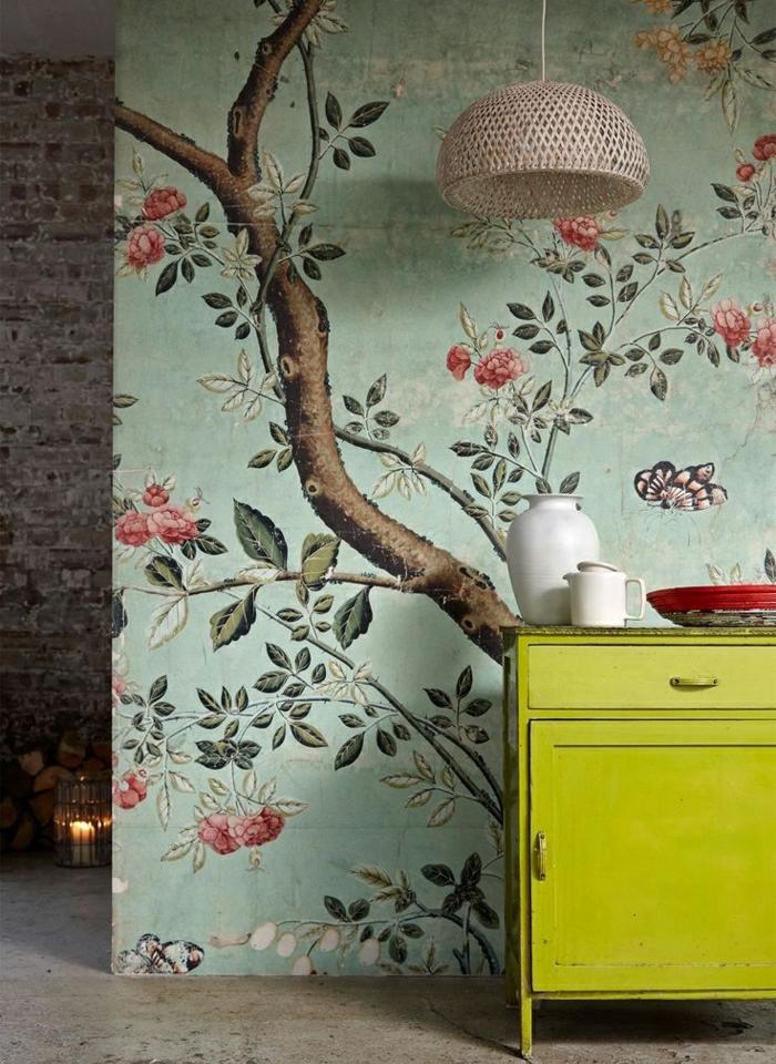 Décoration-mural-papier-peint-designer-guild-l-arbre-table-basse-vert