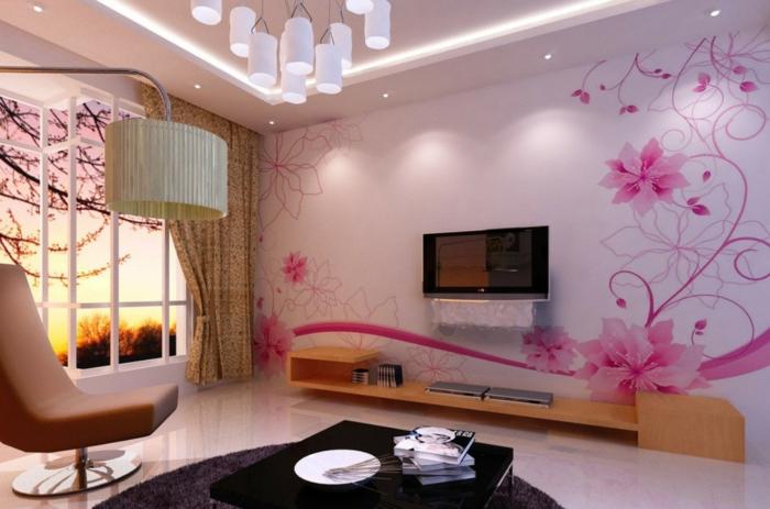 Idée-déco-mural-papiers-peints-design-belle-mur-moderne-rose-fleurs