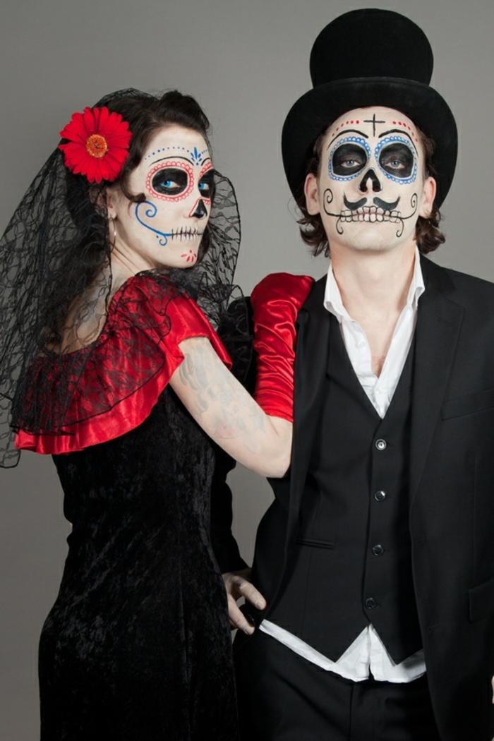 Idée-originale-déguisement-Halloween-meilleur-coutume -crane-de-sucre-couple