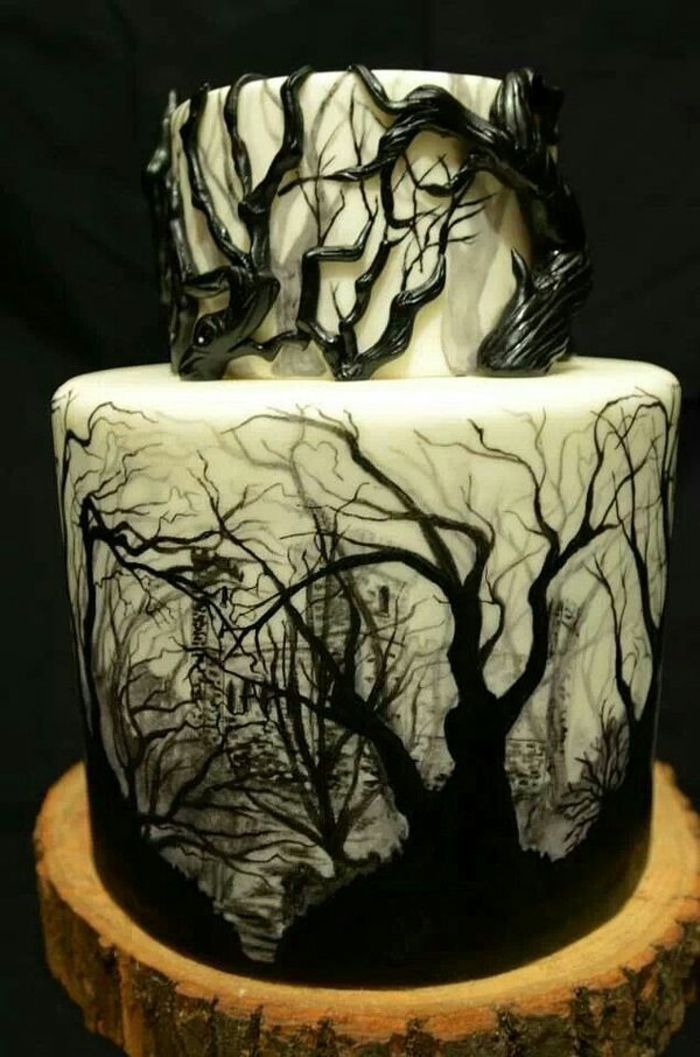 Idées-déco-citrouille-Halloween-décoration-gâteau-arbres-foret-fantome