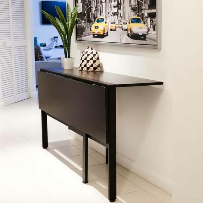 Salle-à-manger-et-cuisine-aménagement-table-cuisine-pliante-peinture