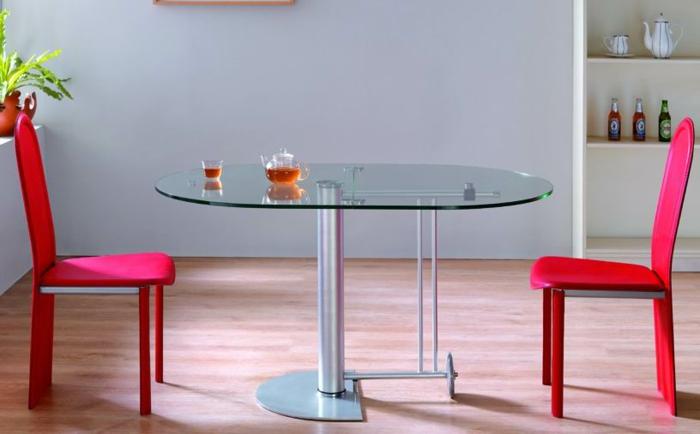 Salle-à-manger-et-cuisine-aménagement-table-cuisine-pliante-rose