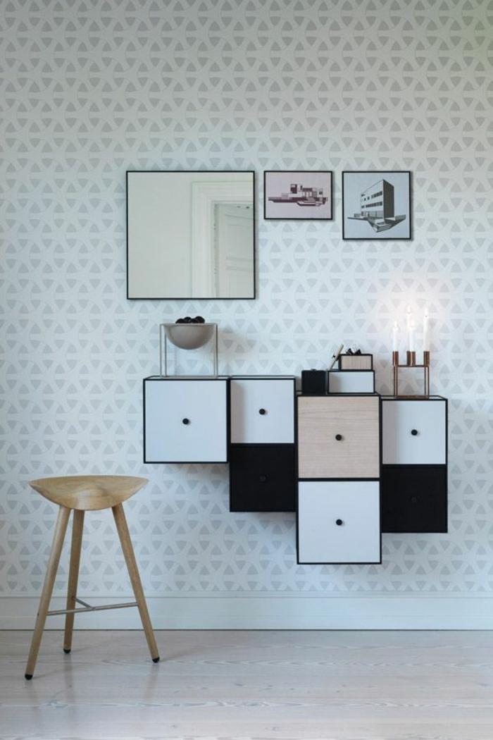 Salle-de-séjour-papier-peint-design-contemporain-blanc-et-gris