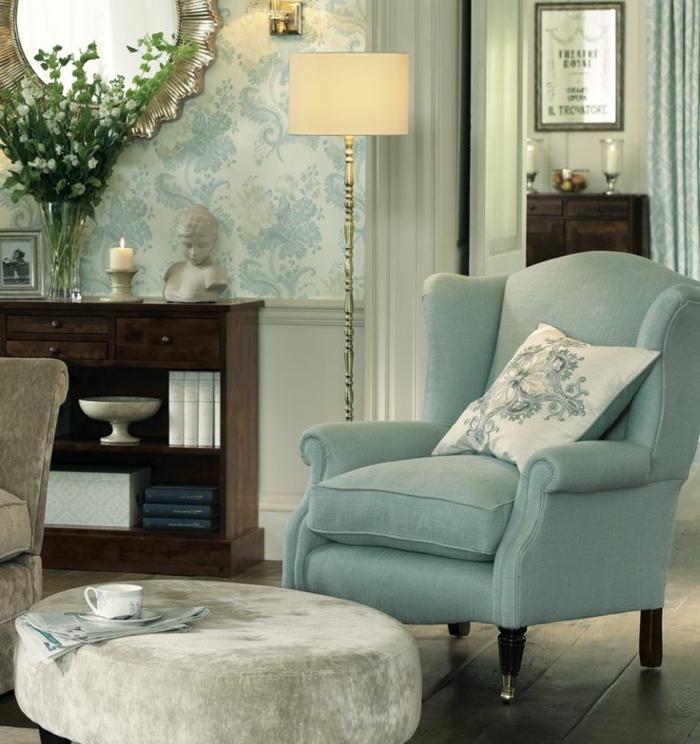 Salle-de-séjour-papier-peint-design-contemporain-idée-en-bleu