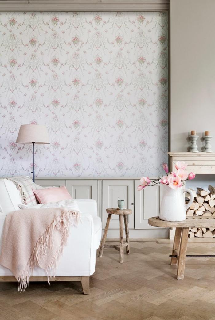 Salon-bien-aménagé-papier-peint-design-idées-déco-belle-en-rose