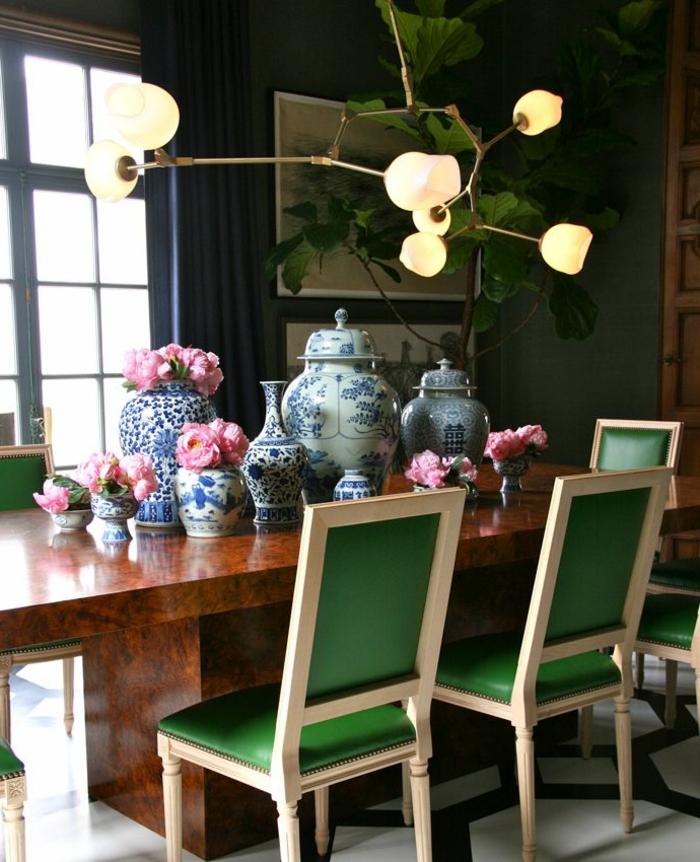 accorder-les-couleurs-dans-la-salle-à-manger-caises-verts-dans-la-salle-a-manger-chaises-verts