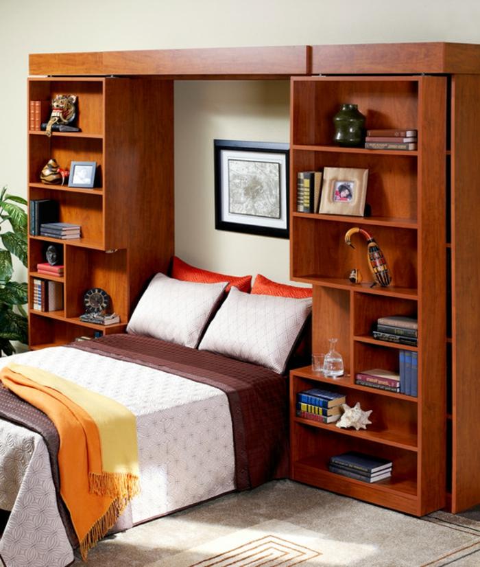 aménagement-chambre-à-coucher-lit-abatable-lit-relevable-étageres