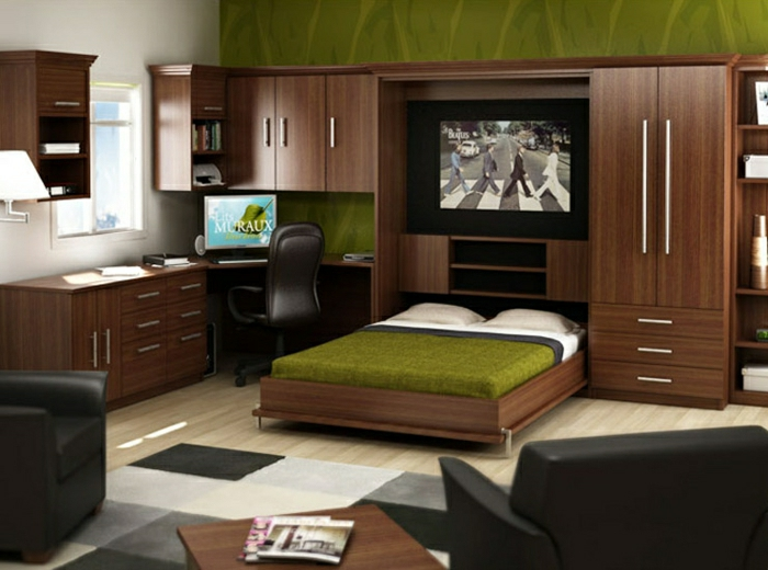 aménagement-chambre-à-coucher-lit-abatable-lit-relevable-bois-et-vert