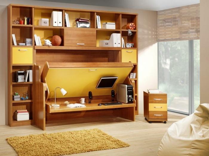aménagement-chambre-à-coucher-lit-abatable-lit-relevable-jaune-mono