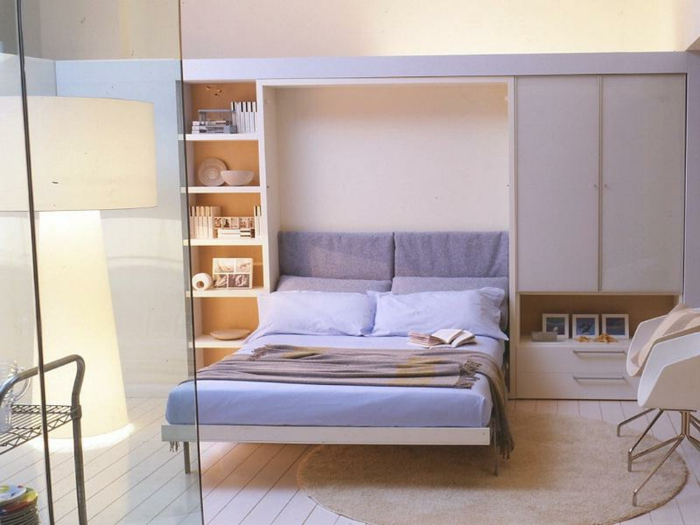 aménagement-chambre-à-coucher-lit-abatable-lit-relevable-violet