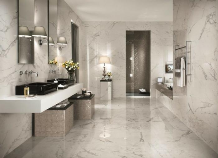 aménagement-salle-de-bain-idée-originale-lavabo-double-baignoire-vasque-carré