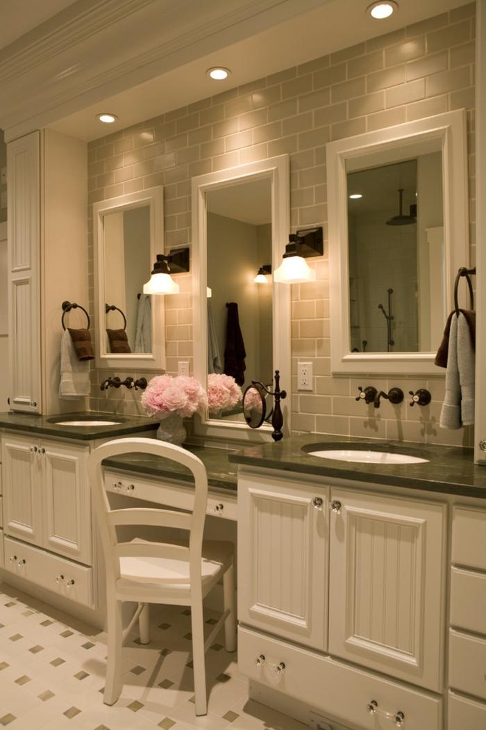 Meuble double vasque 50 id es am nagement salle de bain for Idee salle de bain originale