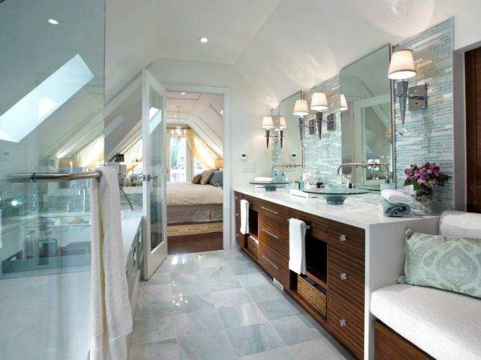 Meuble double vasque 50 id es am nagement salle de bain for Meuble sous toit