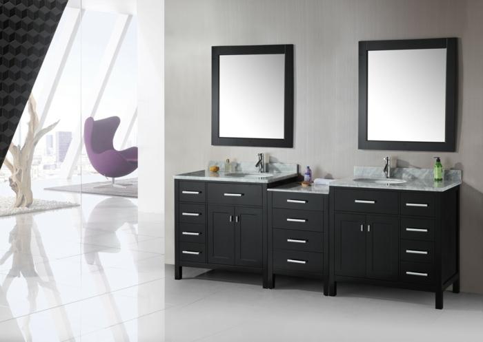 Meuble double vasque 50 id es am nagement salle de bain for Meuble sous lavabo noir