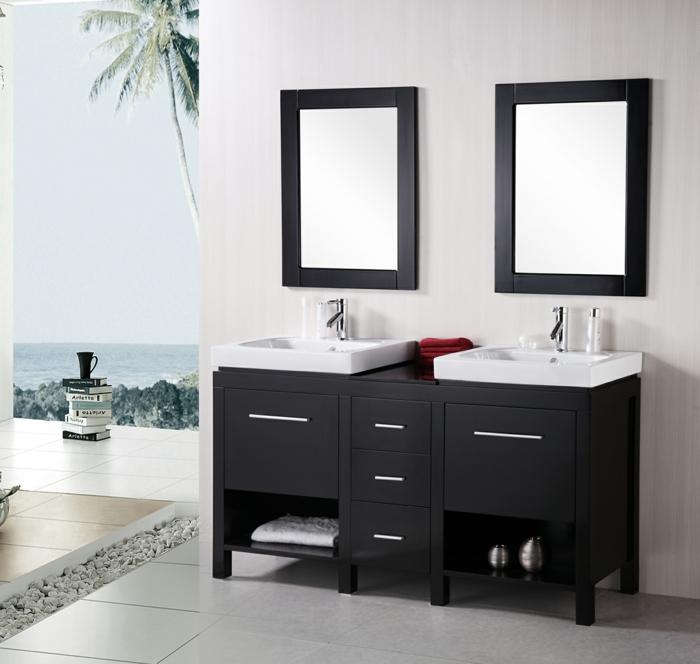 Meuble double vasque 50 id es am nagement salle de bain for Meuble sous fenetre