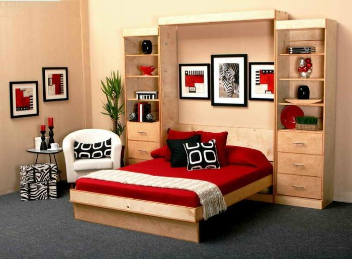 armoire-lit-escamotable-ikea-meuble-lit-aménagement-rouge