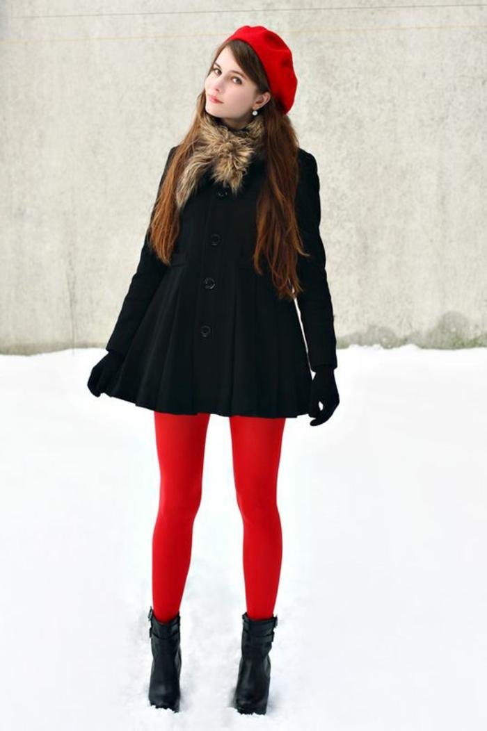 béret-casquette-rouge-manteau-noir-pour-les-filles-modernes-cheveux-longs-marrons