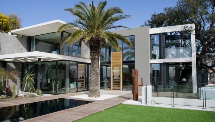 baie-vitrée-coulissante-idée-décoration-avec-grandes-fenetres-maison-moderne-architecture-palme