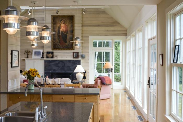 baie-vitrée-fixe-ou-porte-fenetre-maison-contemporaine-aménagement-salon-et-cuisine-moderne