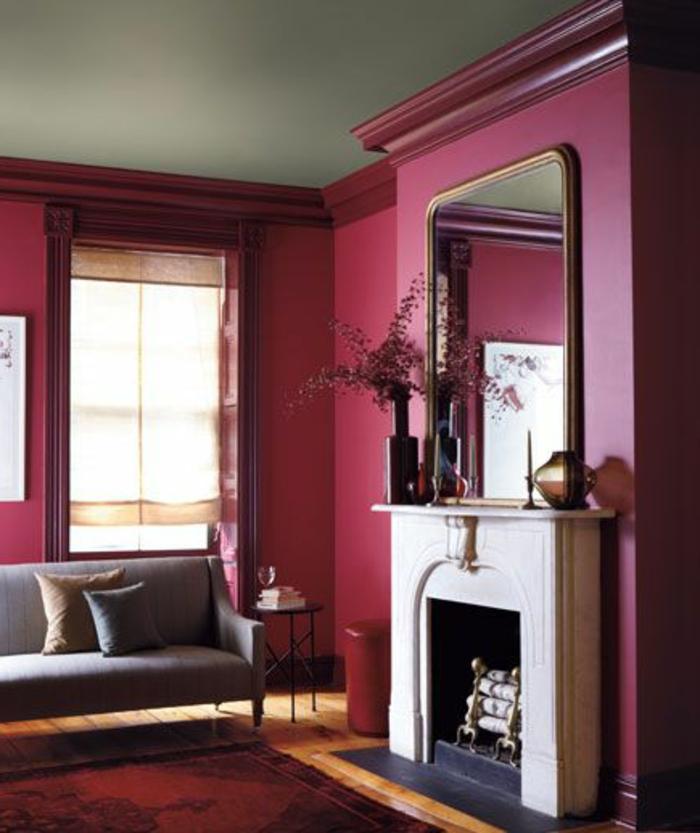 La couleur bordeaux un accent dans l int rieur contemporain - Couleur mur pour salon ...