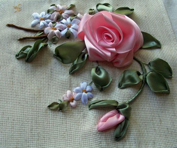 broderie-au-ruban-rose-et-petites-fleurs-bleues