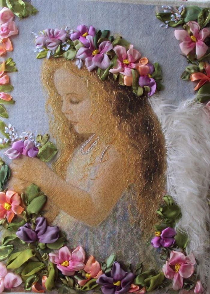 broderie-au-ruban-sur-une-peinture-angélique