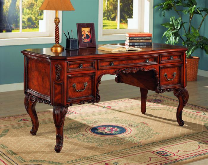 bureau-secrétaire-design-baroque-en-bois-rouge