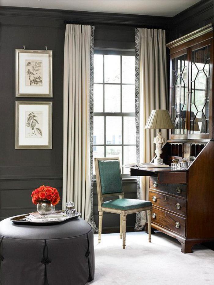bureau-secrétaire-meuble-secrétaire-vintage-grand-pouf-gris
