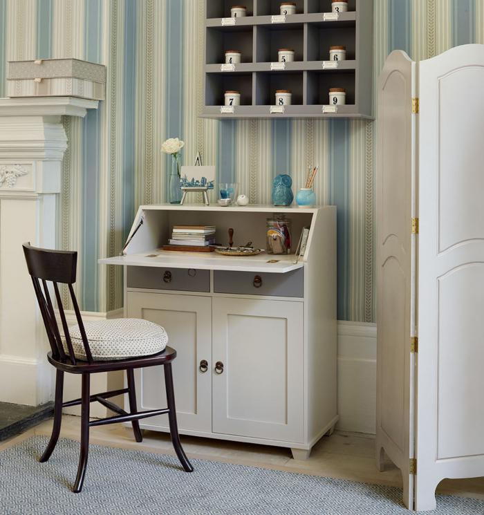bureau-secrétaire-papier-peint-original-déco-d'office-à-la-maison