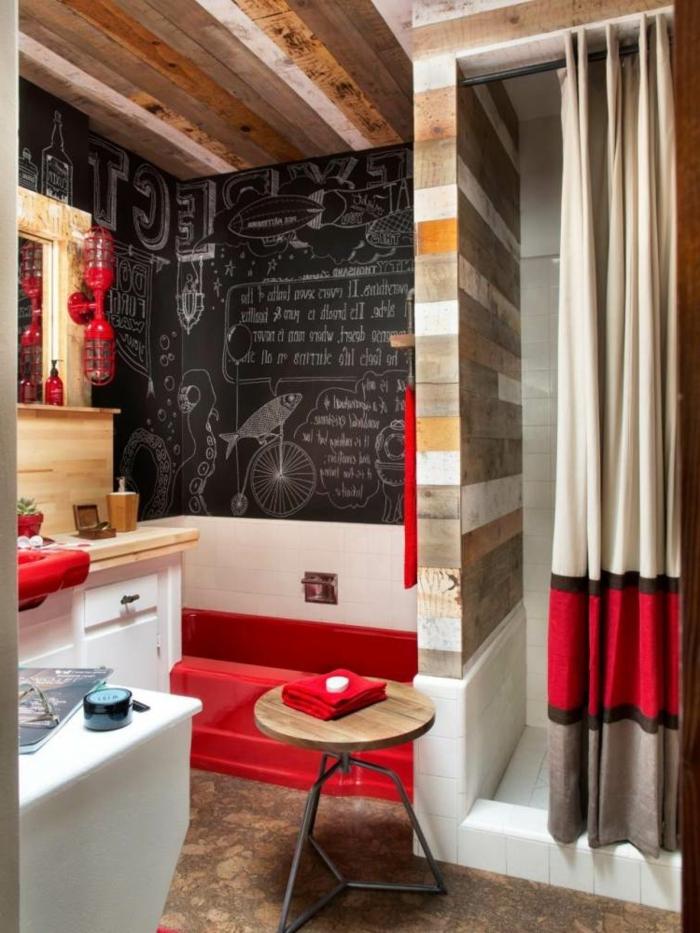 carré-salle-de-bain-imitation-bois-panneau-décoratif-en-bois-idée-déco-salle-de-bain-rouge-originale
