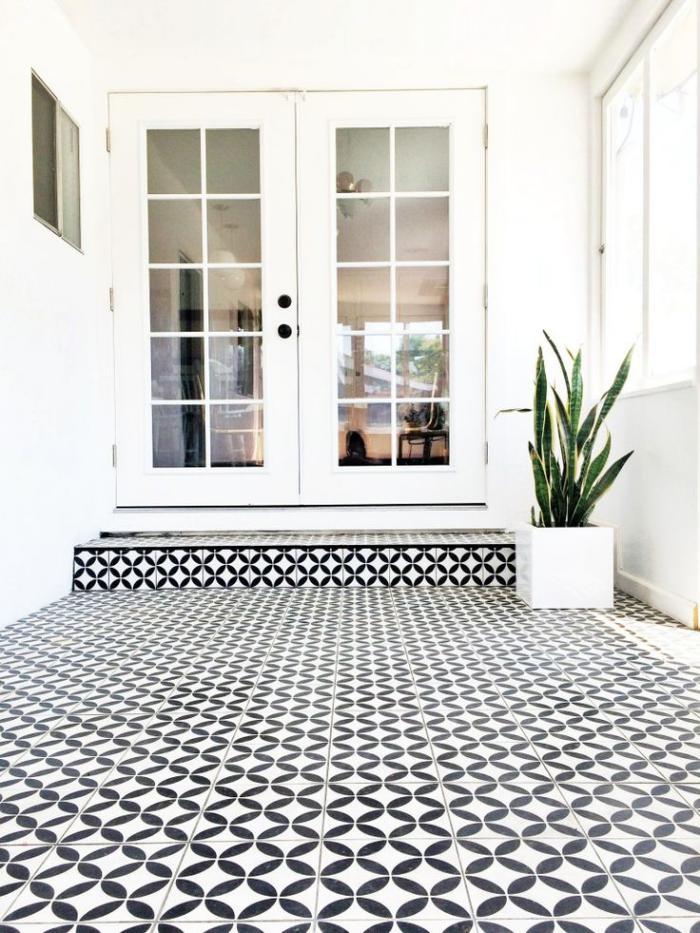 Le motif carreaux de ciment dans l 39 int rieur - Carreau ciment noir et blanc ...