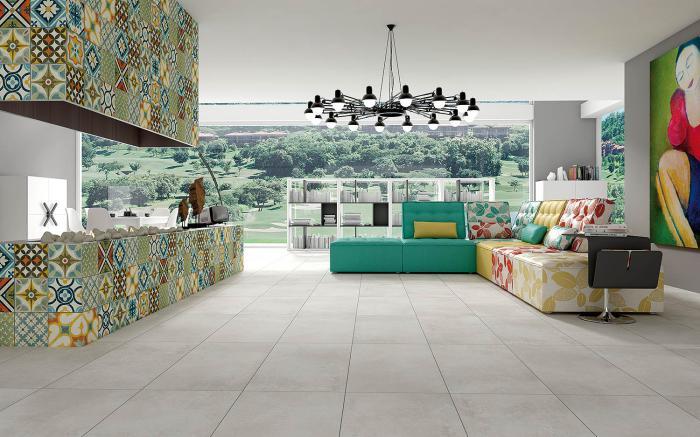 Salle De Bain Blanche Et Verte : carreaux-de-ciment-pavement-atypique-de-surfaces-demeure-contemporaine