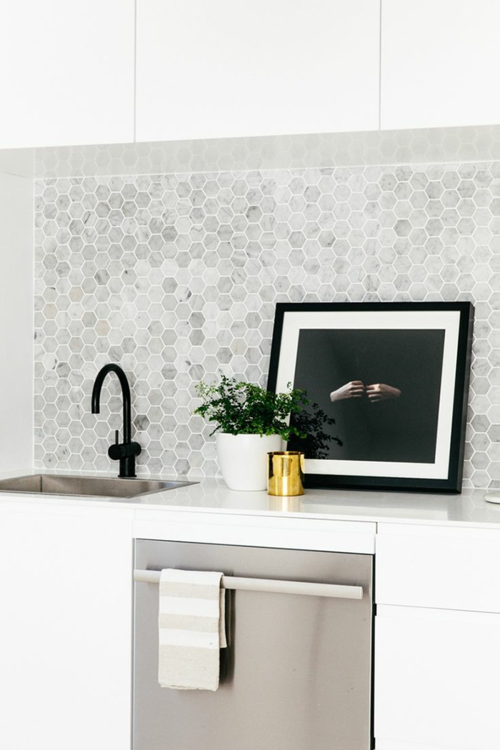 carrelage-adhesif-mural-de-couleur-gris-plantes-vertes-et-mosaique-de couleur-blanc-dans-la--cuisine-modenre