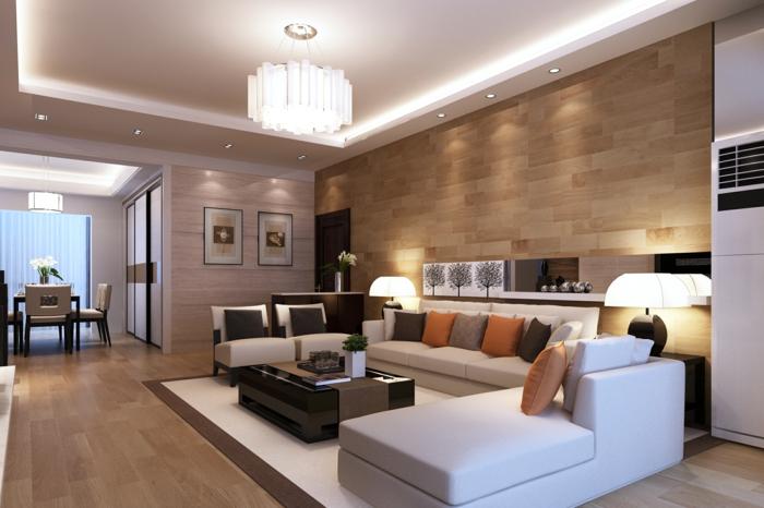carrelage-imitation-bois-panneau-décoratif-en-bois-brun-clair-canape-d-angle-blanc
