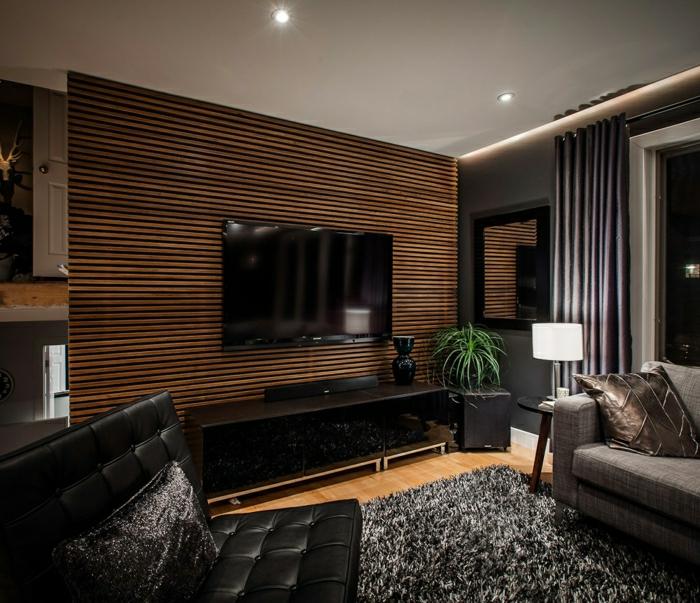 carrelage-imitation-bois-panneau-décoratif-en-bois-sombre-jolie-salle-de-sejour