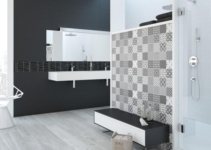 Modele carrelage salle de bain noir et blanc salle de - Salle de bain carrelage blanc ...