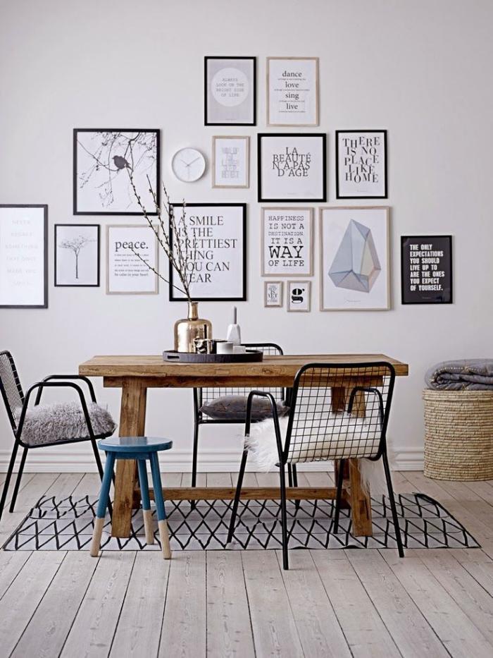 chaise-scandinave-décor-scandinave-grande-table-en-bois-chaises-et-petit-tabouret