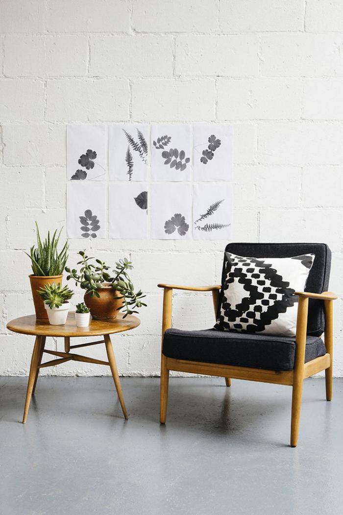 chaise-scandinave-chaise-en-bois-avec-coussin-matelas