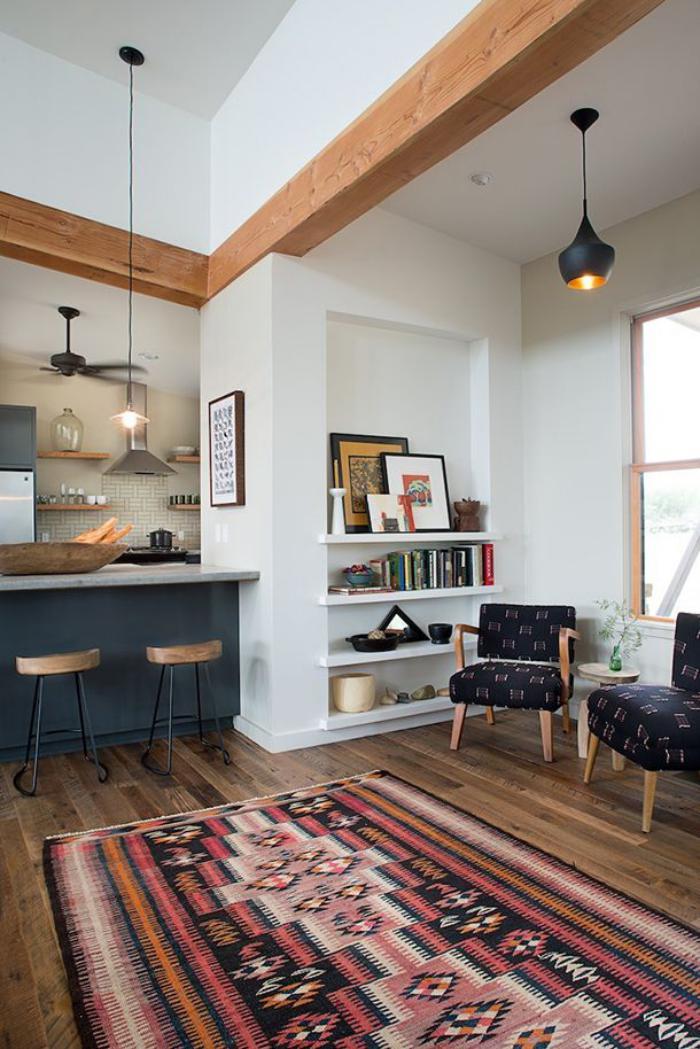 chaise-scandinave-tapis-ethnique-cuisine-scandinave-et-chaises-design-scandinave